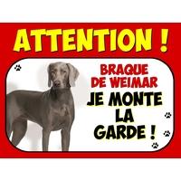 Plaque en aluminium Attention au chien Braque de weimar