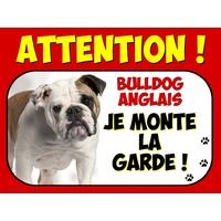 Plaque en aluminium Attention au chien Bulldog anglais