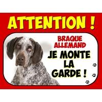 Plaque en aluminium Attention au chien Braque allemand