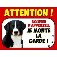 Plaque en aluminium Attention au chien Bouvier d'appenzell