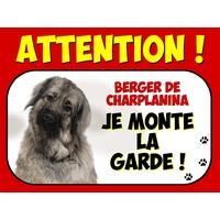 Plaque en aluminium Attention au chien Berger de charplanina