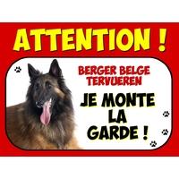 Plaque en aluminium Attention au chien Berger Belge tervueren
