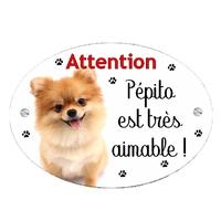 Plaque Attention au chien Loulou de Poméranie personnalisée avec texte au choix