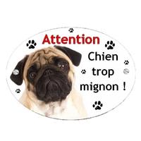Plaque Attention au chien Carlin personnalisée avec texte au choix