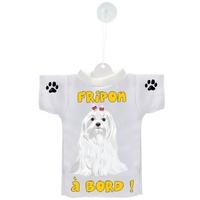 Mini tee shirt voiture Chien à Bord Bichon personnalisé