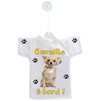 Mini tee shirt voiture Chien à Bord Chihuahua personnalisé