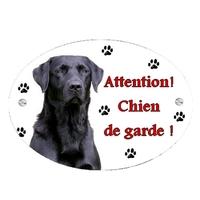 Plaque Attention au chien Labrador noir personnalisée avec texte au choix