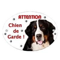 Plaque Attention au chien Bouvier bernois personnalisée avec texte au choix