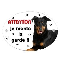 Plaque Attention au chien Beauceron personnalisée avec texte au choix