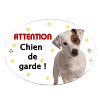 Plaque Attention au chien Jack russel personnalisée avec texte au choix