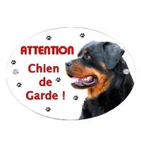 Plaque Attention au chien Rottweiler personnalisée avec texte au choix