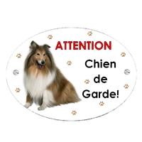 Plaque Attention au chien Colley personnalisée avec texte au choix