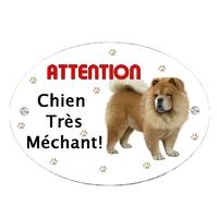 Plaque Attention au chien Chowchow personnalisée avec texte au choix