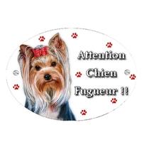 Plaque Attention au chien Yorkshire personnalisée avec texte au choix