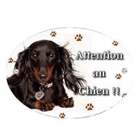 Plaque Attention au chien Teckel personnalisée avec texte au choix