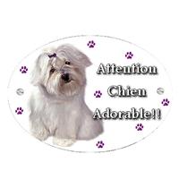 Plaque Attention au chien Bichon personnalisée avec texte au choix