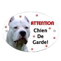 Plaque Attention au chien Dogue Argentin personnalisée avec texte au choix
