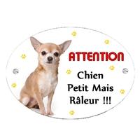 Plaque Attention au chien Chihuahua personnalisée avec texte au choix