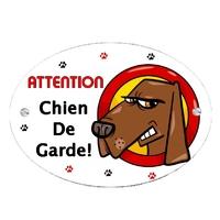 Plaque Attention au chien Humour cartoon personnalisée avec texte au choix