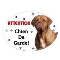 Plaque Attention au chien Dogue de bordeaux personnalisée avec texte au choix