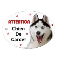 Plaque Attention au chien Husky personnalisée avec texte au choix