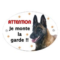 Plaque Attention au chien Malinois personnalisée avec texte au choix