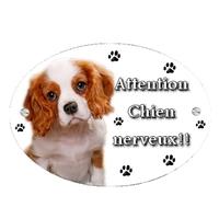 Plaque Attention au chien Cavalier king charles personnalisée avec texte au choix