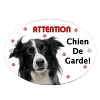 Plaque Attention au chien Border collie personnalisée avec texte au choix