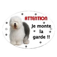 Plaque Attention au chien Bobtail personnalisée avec texte au choix