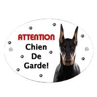 Plaque Attention au chien Doberman personnalisée avec texte au choix