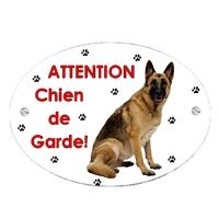 Plaque Attention au chien Berger allemand personnalisée avec texte au choix