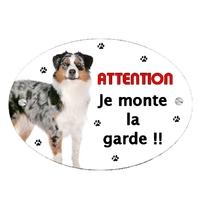 Plaque Attention au chien Berger australien personnalisée avec texte au choix