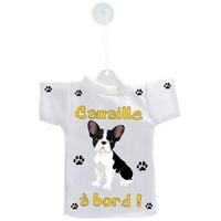 Mini tee shirt voiture Chien à Bord Bouledogue français personnalisé