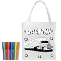 Sac shopping cabas Camion a colorier personnalisé avec prénom