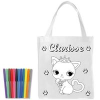 Sac shopping cabas Chat chaton a colorier personnalisé avec prénom