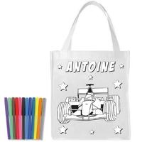 Sac shopping cabas Formule 1 a colorier personnalisé avec prénom