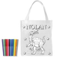 Sac shopping cabas Dinosaure a colorier personnalisé avec prénom
