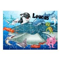 Puzzle Animaux marins personnalisé avec prénom 35,70 ou 96 pièces
