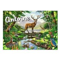 Puzzle Animaux de la forêt personnalisé avec prénom 35,70 ou 96 pièces