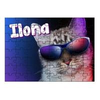 Puzzle Chat à lunettes personnalisé avec prénom 35,70 ou 96 pièces