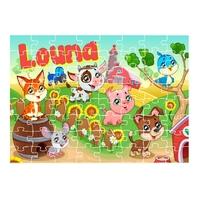 Puzzle Animaux de la ferme personnalisé avec prénom 35,70 ou 96 pièces