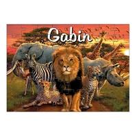 Puzzle Animaux d' Afrique personnalisé avec prénom 35,70 ou 96 pièces