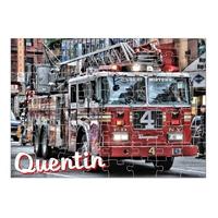 Puzzle Camion de pompier personnalisé avec prénom 35,70 ou 96 pièces