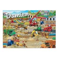 Puzzle Chantier de construction personnalisé avec prénom 35,70 ou 96 pièces
