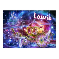 Puzzle  carrosse de princesse personnalisé avec prénom 35,70 ou 96 pièces