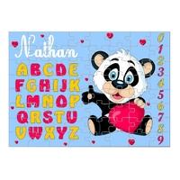 Puzzle Abécédaire Petit Panda personnalisé avec prénom 35,70 ou 96 pièces