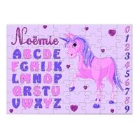 Puzzle Abécédaire Licorne personnalisé avec prénom 35,70 ou 96 pièces