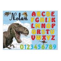Puzzle Abécédaire Dinosaure personnalisé avec prénom 35,70 ou 96 pièces