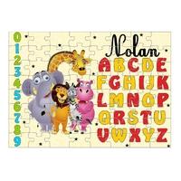 Puzzle Abécédaire Animaux personnalisé avec prénom 35,70 ou 96 pièces