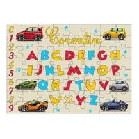 Puzzle Abécédaire Voitures personnalisé avec prénom 35,70 ou 96 pièces
